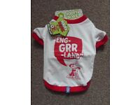 "Dog Clothing Coat T Shirt Eng-grr-land white & red Size M 30.5cm 12"" BNWT"