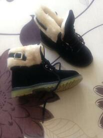Brand new black velvet fluffy boots