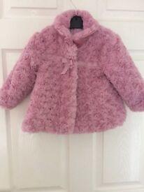 Girls rose fur coat