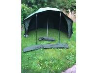 """Aqua 50"""" Fast & Light Brolly with poles, pegs & front (no groundsheet) - Carp Fishing"""