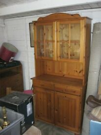 MODERN ORNATE PINE 'WELSH DRESSER' TOP DETACHABLE. IN GOOD ORDER. VIEW/DELIVERY POSSIBLE