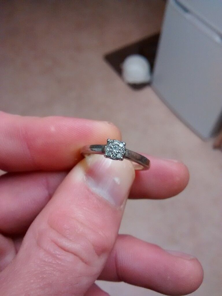 Engagement ring silver & 9 small diamonds | in Bude, Cornwall | Gumtree
