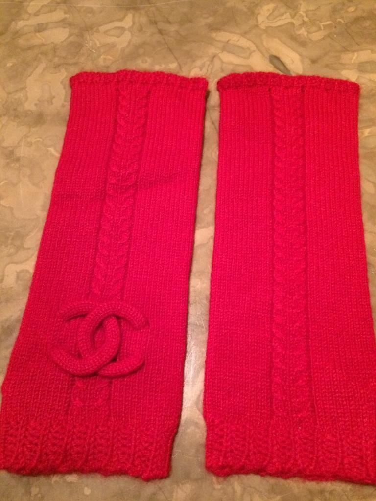 Chanel Red Fingerless Gloves