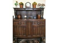 Solid oak sideboard and matching table and 4 chairs
