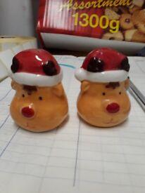 Christmas salt pepper pots - xmas reindeer