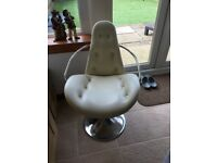 Cream leather retro dining chairs, great condition. 4 available. Very heavy