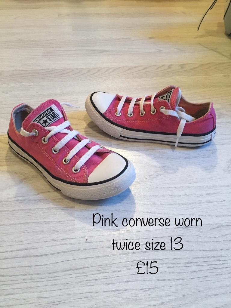 aac7fa991488 Girls pink converse trainers