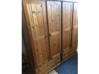 Two solid pine wardrobes