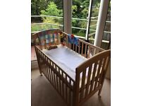 Beautiful Beechwood Bedside Cot (From Mothercare)