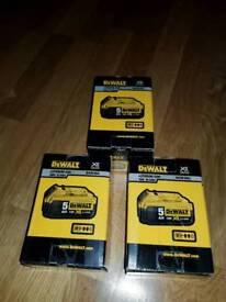 GENUINE. BRAND NEW. Dewalt 5.0Ah batteries