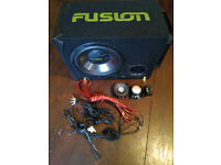 450W FUSION Active Enclosure Subwoofer with Amplifier, Cable Kit, 2 Vibe 60W Speakers