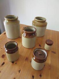 Glazed earthenware storage jars