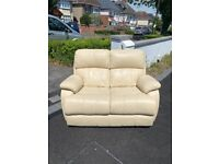 Great condition cream leather 2 seater sofa