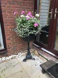 Big planter on cast iron stand