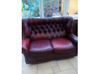 Authentic ox red leather chesterfield 2 seater sofa