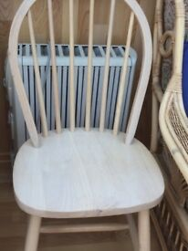 4 light stained dining chairs