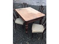 Victorian solid oak scullery dining table and four upholstered chairs