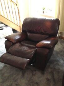 3 SEATER LEATHER RECLINER & CHAIR RECLINER