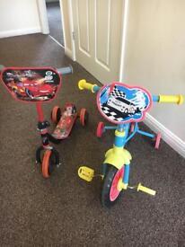 Kids scooter and bike