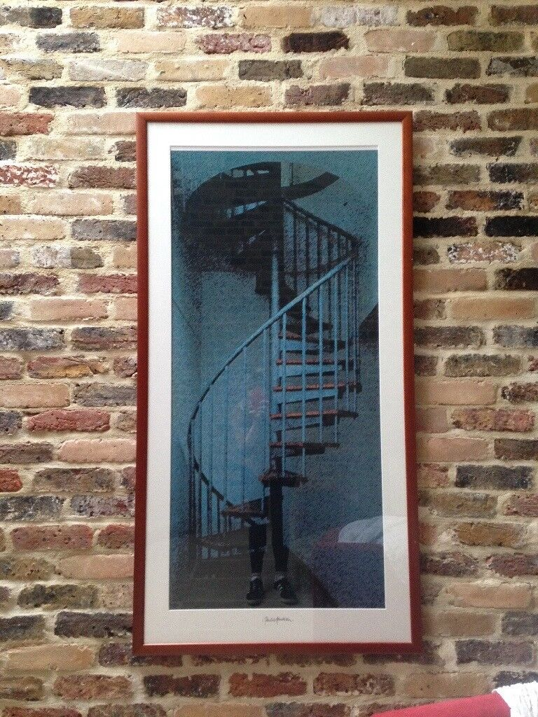 Framed spiral staircase picture
