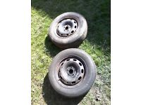 2 x steel wheels + tyres / vw audi skoda seat /