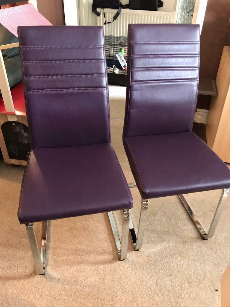 Six Faux Leather Dining Chairs In Purple Cream And Black