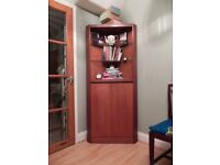 NEED GONE BY 21/8/17 - Vintage Wooden 2 Door Corner Bookcase with glass shelves