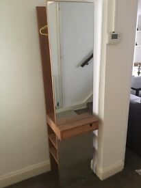 Futon Company Wood Coat Stand/Storage with Full Length Mirror. H 176 cm x W 40 cm x D 40 cm.