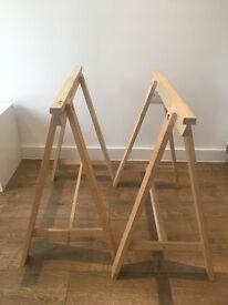 Pair of solid wood Trestles IKEA
