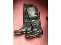 Knee High Boots - Black Leather - Size 7