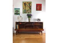 Mid Century Afromosia Bookcase/Sideboard with Glass Sliding Doors by E Gomme FREE LOCAL DELIVERY