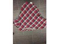 Red check breastfeeding cover/poncho.