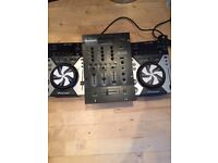 Pair of Pioneer CDJ 400 decks with MP3 and USB CD with 3 channel Newmark Mixer