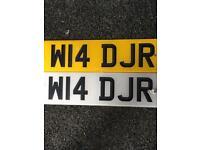 Number plate w14DJR