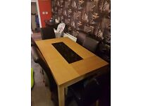 Oak diner table with 6 chairs