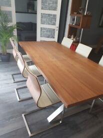 Dwell furniture crossed leg walnut extending dining tab & 6 Chairs RRP £1800
