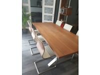Dwell furniture crossed leg walnut extending dining tab & 6 Chairs RRP £1800