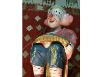 Antique carved wood clown in original paint. really cool interior design piece.