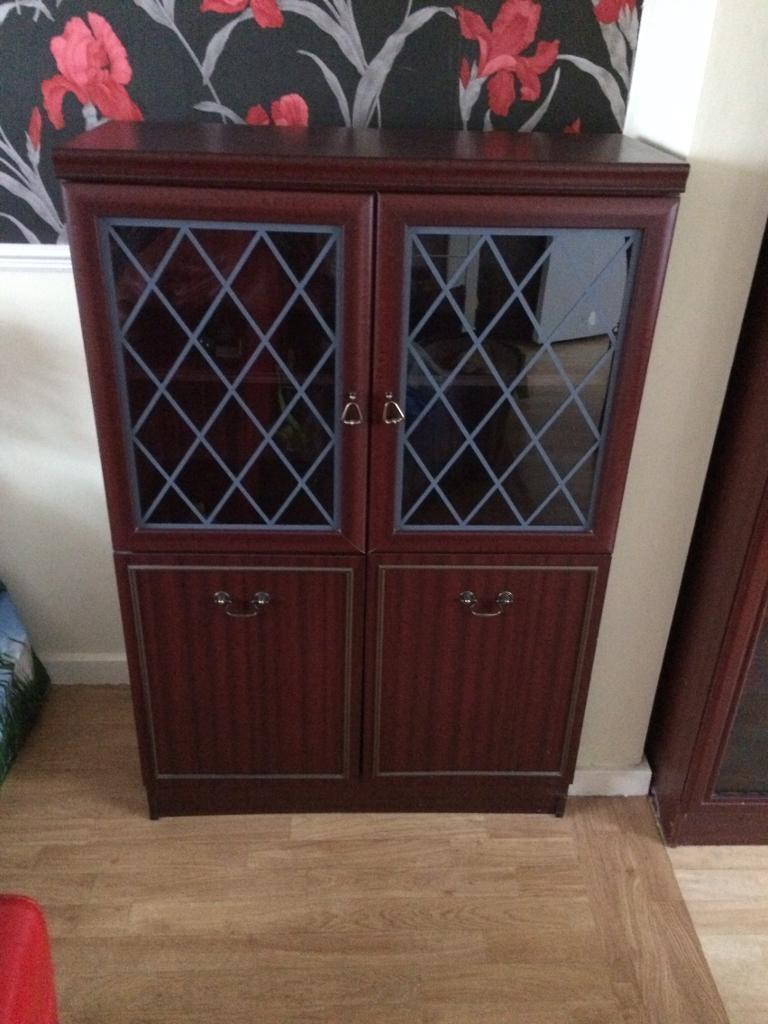 Half size Mahogany Veneer glass cabinet