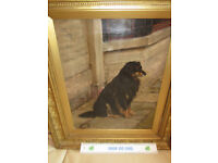 REDUCED Oil on Canvas Painting by William Edward Millner of Collie Setter Dog c1880 Signed