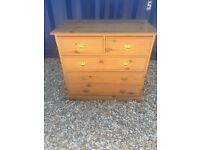 Pine Chest of Drawers with brass handles