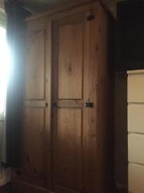 Double pine solidwood wardrobe