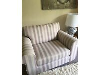 Large chair cream background with lilac stripes