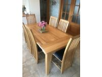 Solid 6ft Oak Dinning Table with 6 Chairs