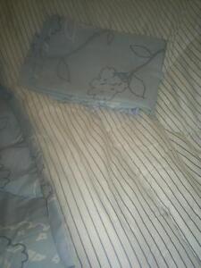 Double size comforter, bed skirt, pillow shams
