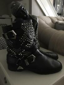 LEATHER ZARA STUDED BOOTS GOOD COND