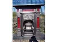125 Cast Iron Fireplace Surround Original Tiled circa 1889 Victorian Combination Fire Antique old