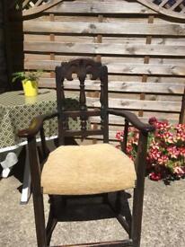 Antique chair carved with fleur de ley