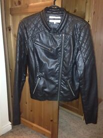 faux leather black womens jacket- Small