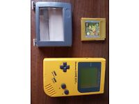 Original fat GameBoy (yellow)& Pokemon Gold. Plus retro light